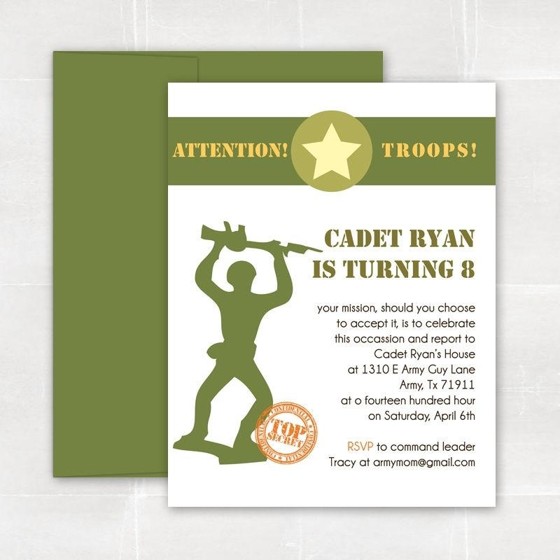 Custom Made Army Guy Birthday Party Invitations