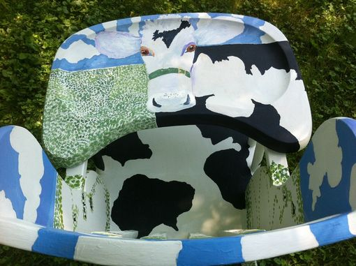 Custom Made High Chair With Cows