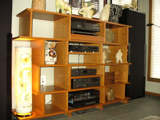 Custom Made Stereo And Art Wall Unit In Birdeye Cherry