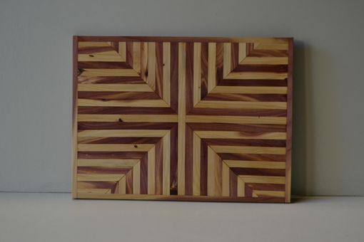 Custom Made Red Cedar Rustic Handmade Wood Home Decor Abstract Geometric Wall Sculpture