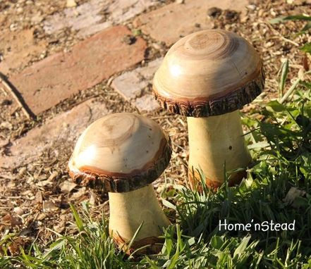 Custom Made Wooden Mushrooms | Garden Decor