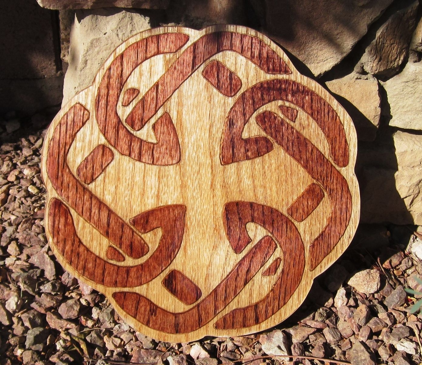 Hand Crafted Celtic Knot Carved Father Daughter Knot By Sonoran