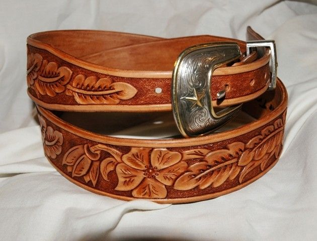 handmade tooled leather belt your size by lone tree