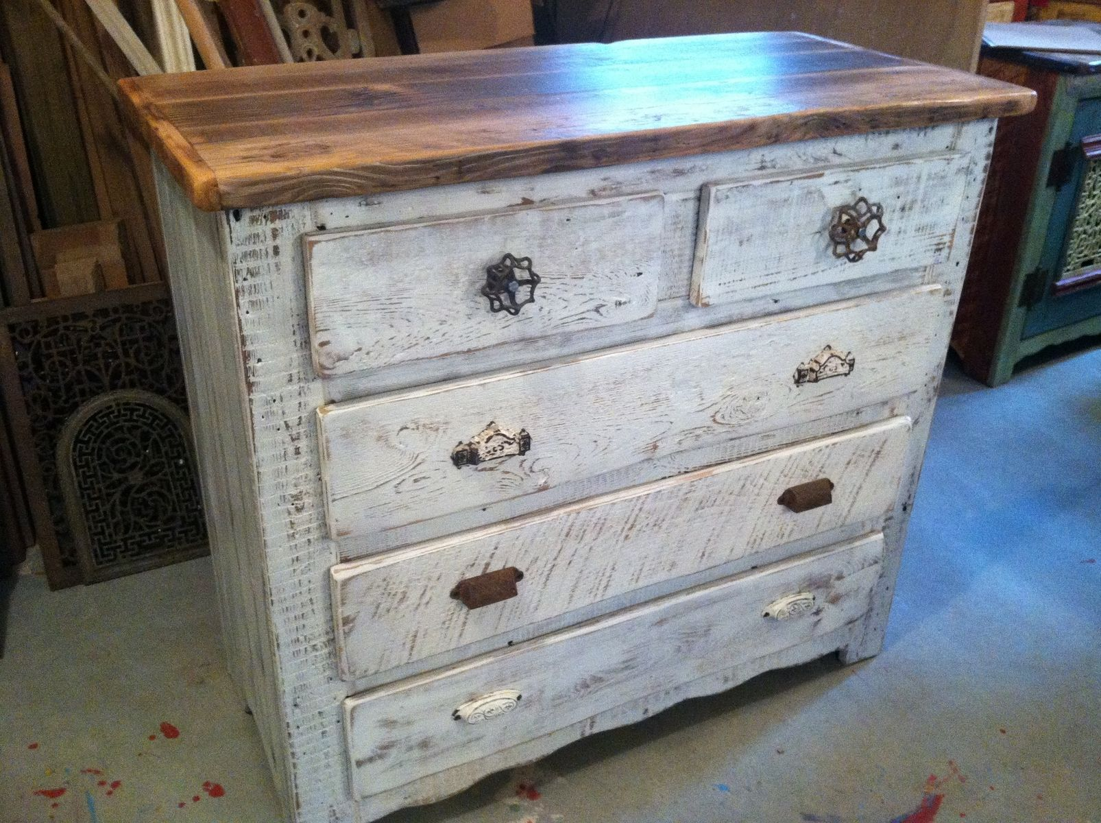 Custom Made Captains Dresser In Antique Whitewash By
