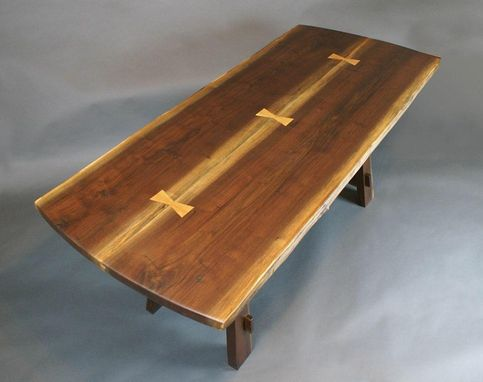 Custom Made Modified Craftsman Walnut Table With Live Edge Top