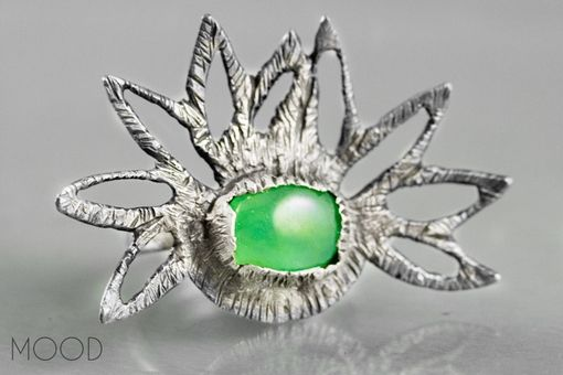 Custom Made Sprout - One Of A Kind Ruffled Petals Chrysoprase Gemstone Ring In Argenitium Sterling Silver - Size 9