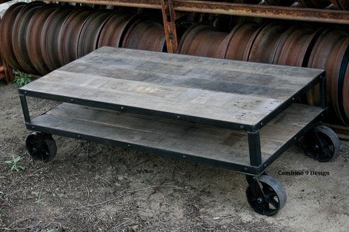 Custom Made Vintage Industrial Coffee Table, Reclaimed Wood. Rustic Farmhouse Style, Casters.