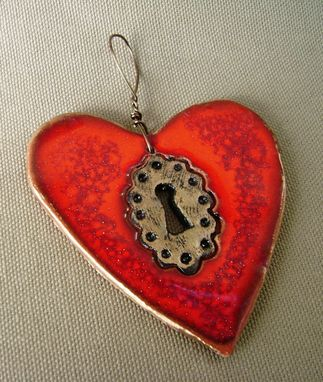 Custom Made Key Hole Red Heart Ornament