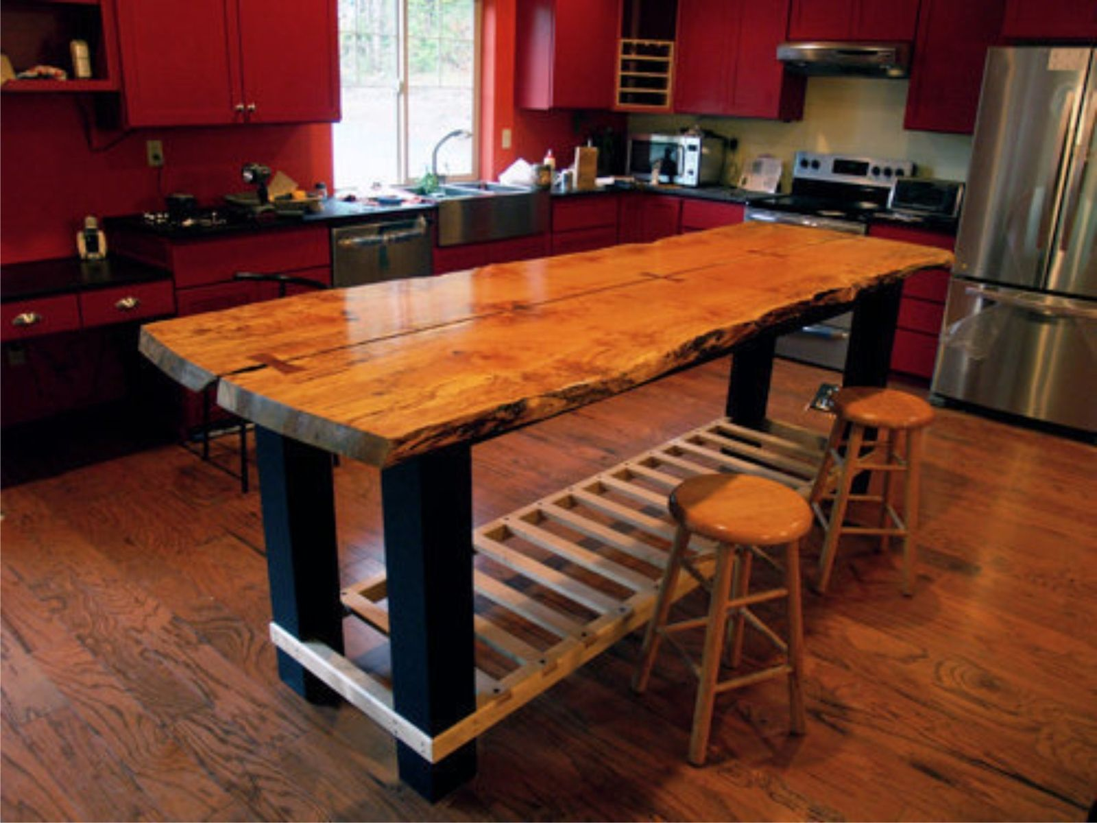 Handmade custom island table by jeffrey coleson art and for Kitchen table designs plans
