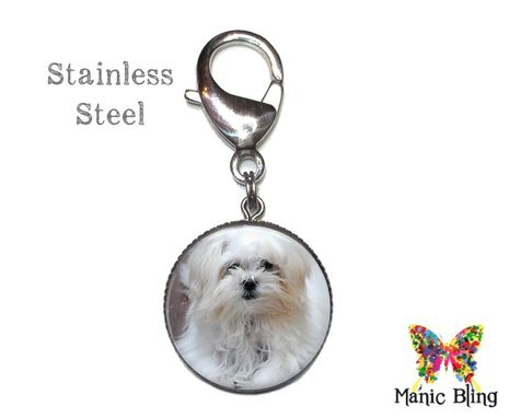 Custom Made Pet Memorial Purse Charm - Glass And Stainless Steel