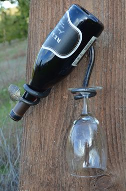 Custom Made Leaf End Wall Mounted Bottle And Glass Holder