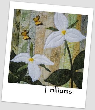 Custom Made Trillium Trio Quilted Wall Art