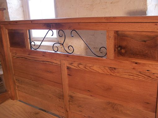 Custom Made Reclaimed Wood And Hand Forged Wrought Iron Accents Craftsman Style Platform Storage Bed