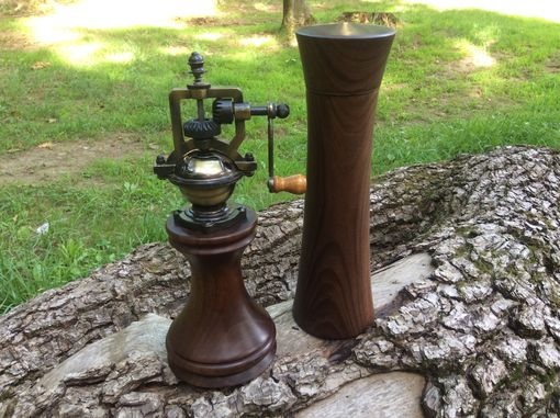 Custom Made Walnut Antique Style Peppermill And Saltmill