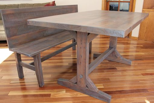 Custom Made Trestle Table And Bench Reclaimed