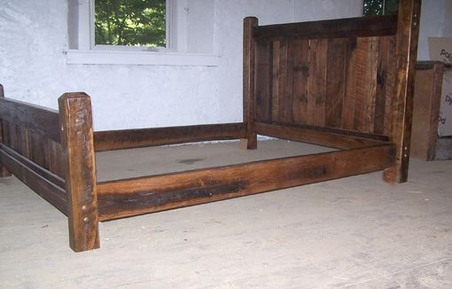reclaimed antique oak wood queen size rustic bed frame with beveled posts