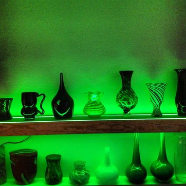 Custom Made Wood Shelf With Neon Lights And  Hand Blown Glass