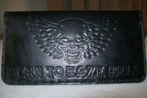 Custom Made Leather Biker Wallet With Skull And Wings Design