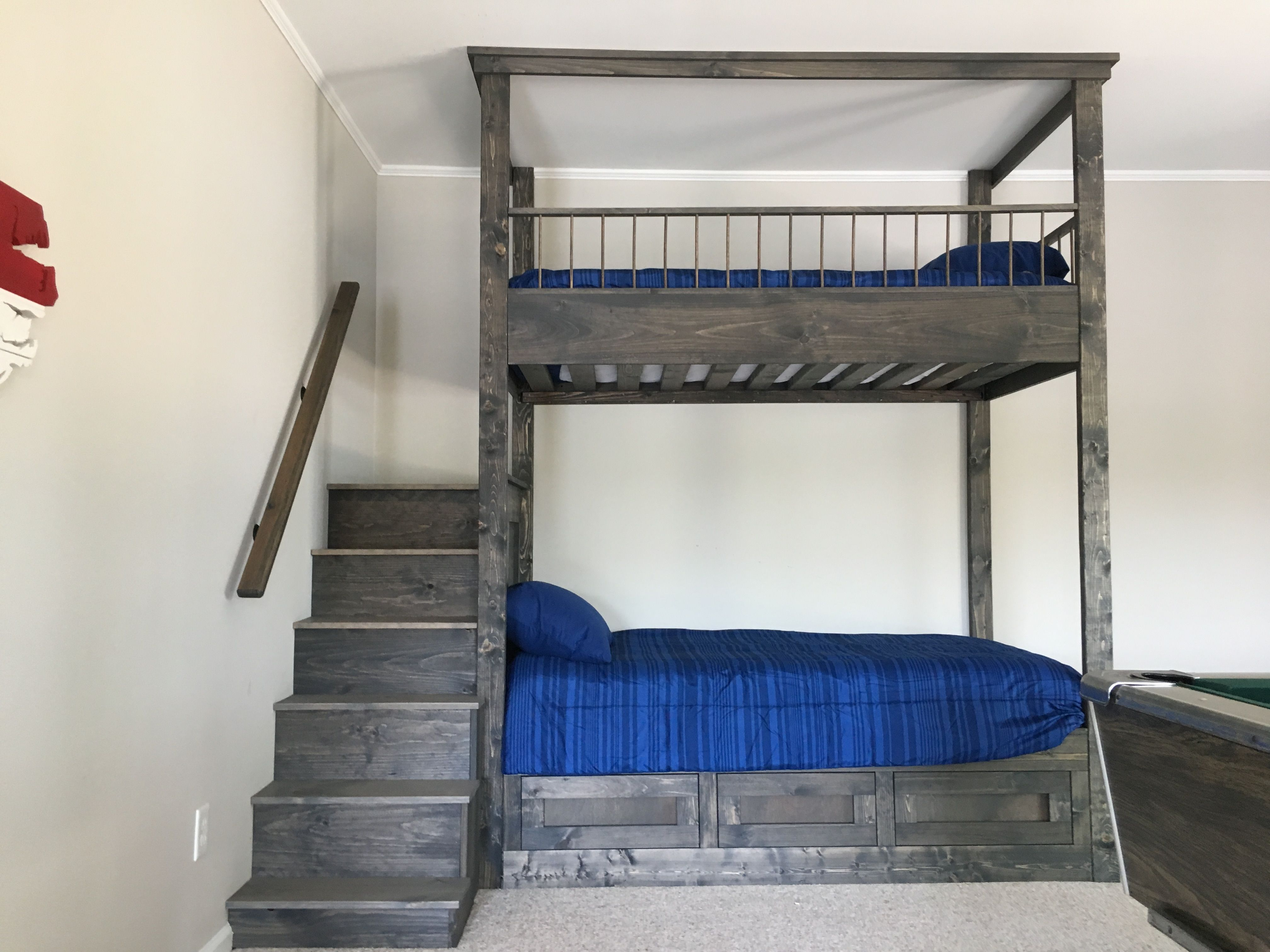 Handmade Dark Grey Bunk Bed With Step Ladder By Edwood Art Craft
