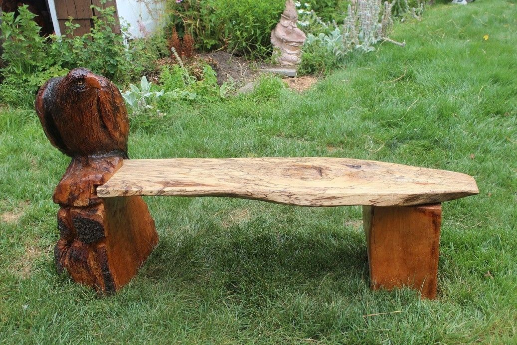 Custom made chainsaw bench with eagle by donna maries art