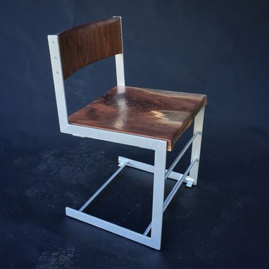 Custom Made Cantilevered Walnut Chair