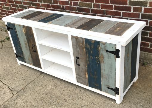Custom Made Industrial Modern Reclaimed Wood Entertainment Center