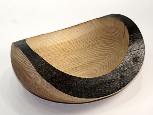 Custom Made Sandblasted Oak Wood Turned Bowl