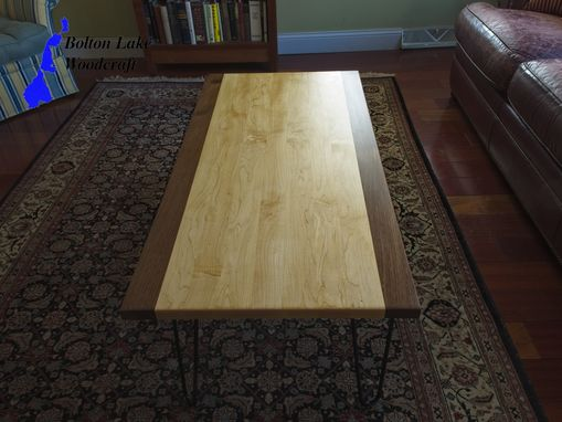 Custom Made Coffee Table Maple With Walnut Borders And Hairpin Legs