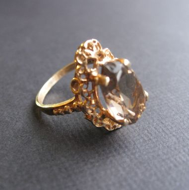 Custom Made Vintage Ring 14k Yellow And Quartz