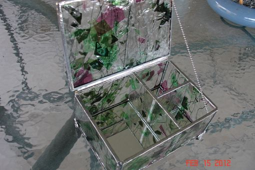 Custom Made Custom Made Stained Glass Jewelry Box With Dividers