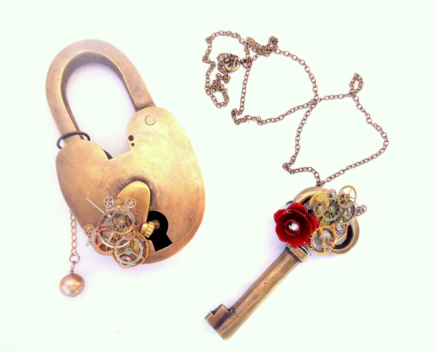 Custom Steampunk Lock And Key Set By Erika With A K