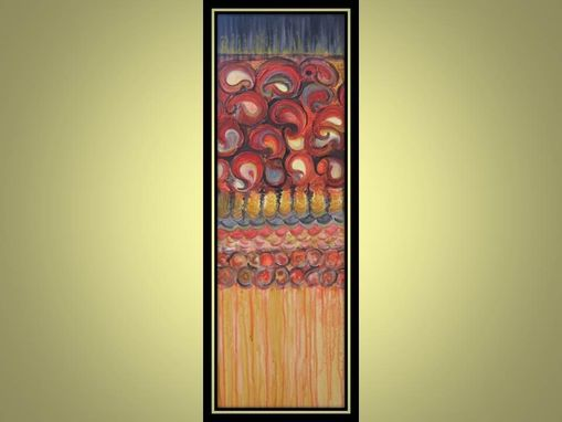 "Custom Made Paisley Painting- Original Abstract 12""X36"" Textured Painting Red Ochre Black"