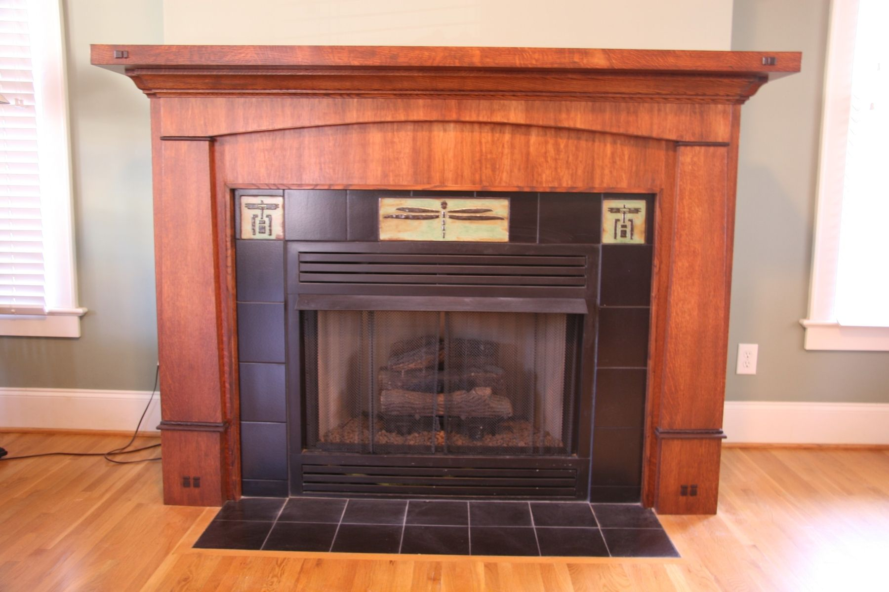 Hand made custom craftsman style fireplace mantle and Decorative hearth