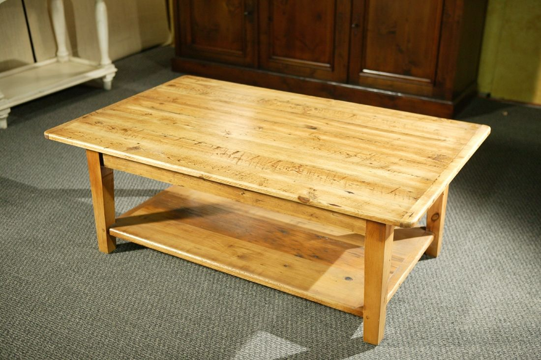Custom Wood Coffee Tables With Shelf And Straight Legs By