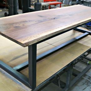 Walnut And Steel Contemporary Coffee Table