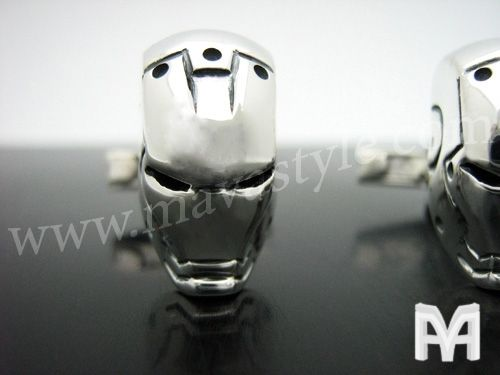 Custom Made Sterling Silver Iron Man Cufflinks