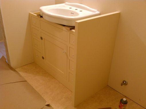 custom made bath cabinet for pedestal sink by artisan 18031