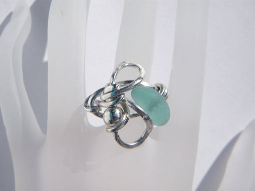 Custom Made Argentium Silver Wire Wrapped Ring With Aqua Sea Glass