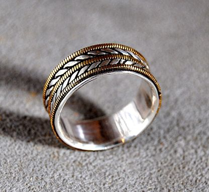 Custom Made Mens Wedding Ring With Bronze Guitar Strings For Musician--Wide