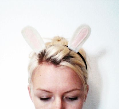 Custom Made White Rabbit Headband, Halloween Costume Or Dress Up White Rabbit Ears For All Ages