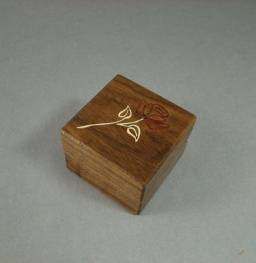Custom Made Engagement Ring Box With Contemporary Rose.  Free Engraving And Shipping. Rb32