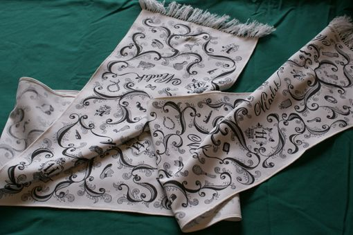 Custom Made Hand Drawn Custom Mens Black Gray Monogram Initial Name Hobby White Scarf