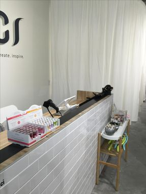 Custom Made White Subway Tile And Maple Butcherblock Point Of Sale Counter