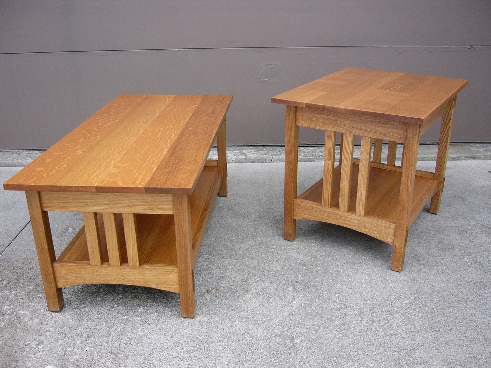 Handmade Quartersawn Oak Mission Style Coffee Table And End Table