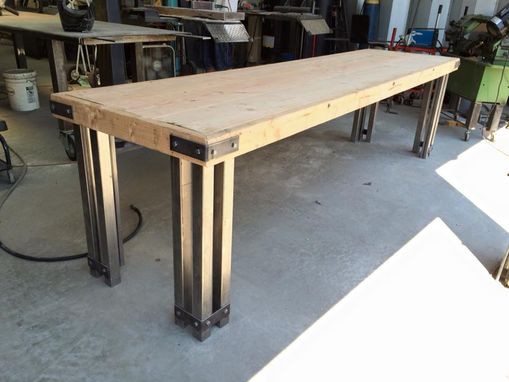 Custom Made 10' Rustic Banquet Table, Steel And Distressed Wood