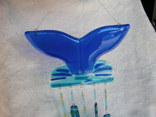 Custom Made Whale's Tail Glass Wind Chimes
