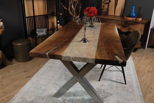 Custom Made River Wood Epoxy Dining Table