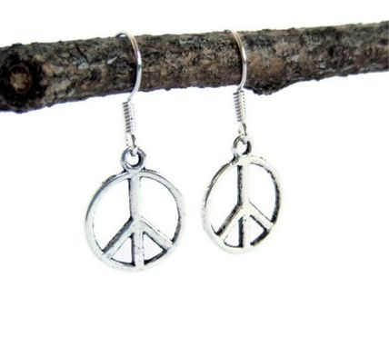 Custom Made Silver Peace Sign Earrings
