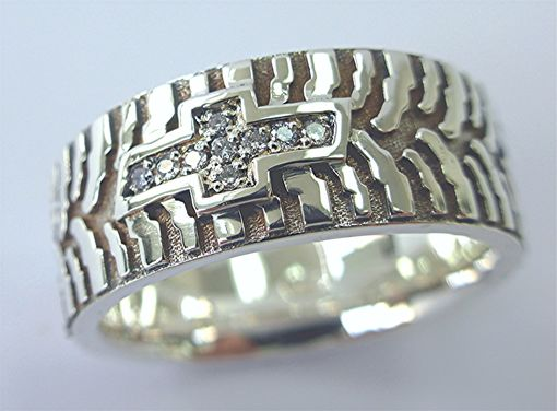 Custom Made Diamond And Silver Tire Ring