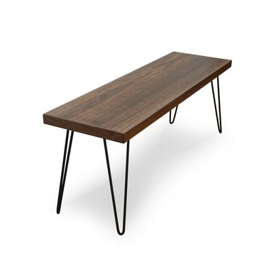 Custom Made Modern Walnut Hairpin Leg Bench
